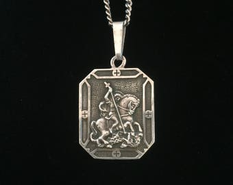 antique saint george slaying the dragon medallion necklace st george