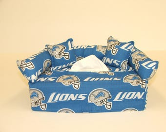 Detroit Lions NFL Licensed fabric tissue box cover.
