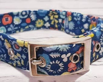Handmade blue retro floral dog collar with silver metal buckle