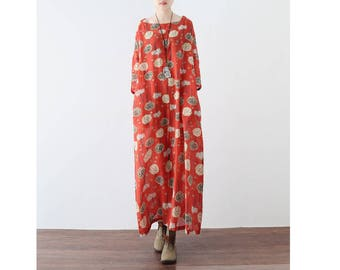 Womens Summer Loose Fitting Round Collar Printed Floral Cotton Linen Dress, Long Dress, Casual Dress, Travel Dress,Beach Dress, Summer Dress