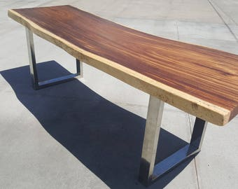 """97""""L Solid Slab Acacia Wood, Live Edge Dining Table 055"""
