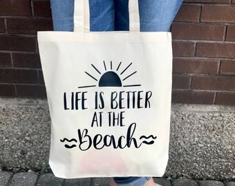 Tote Bag, Life Is Better At The Beach, Beach Bag, Eco Friendly Shopping Bag, School Book, Typography, Knitting Project Bag, Summer Accessory