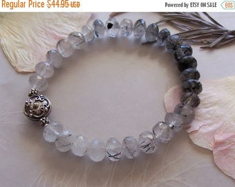 ON SALE AAA Grade Tourmalinated Quartz Gemstone Faceted Rondelle Bead Stretchy Bracelet ~ Sterling Silver Accent ~ Small Medium Wrist Size