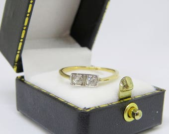 LOVELY 18ct 18K Yellow Gold Art Deco Diamond 0.20ct Engagement Ring SIZE N