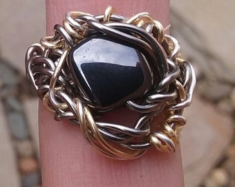 Wire Jewelry, Ring, Handmade- Hematite Stone, Silver, Gold, Design (Size7)