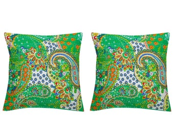 Indian handmade  Paisley Pattern Design with Leafy work Cushion Cover Set of 2