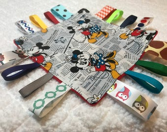 Mickey Mouse Sensory Toy, Tag Toy, Crinkle Toy