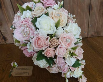 For Sarah Bespoke Vintage Pastel peach and pearl rose and peony teardrop bouquet and buttonhole