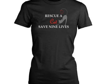 Cat Rescuer womens fit T-Shirt. Funny Cat Rescuer shirt.