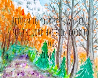 Psalm 116:7 Mountain Scene Art Card