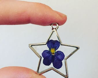 Pansy Viola Flower In Resin- Real Flower Necklace- Botanical Jewelry- Silver Star Pendant- Flower Glass Terrarium Necklace- Resin Jewelry