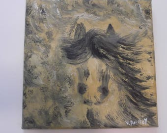 "Original oil on canvas horse painting abstract impressionism signed by artist V. Anstey size 10"" X 10"""
