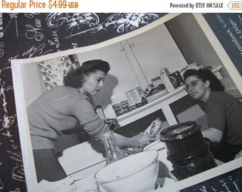 Flash Weekend Sale Vintage 1950s  Black and White Photo of Housewifes Putting Away Groceries