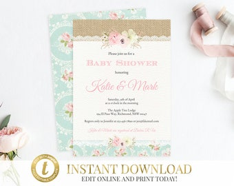 INSTANT DOWNLOAD Baby Shower Invitation, Girl Baby Shower Invitation, Floral Baby Shower Invitation, Baby Shower Invite, Printable Invite