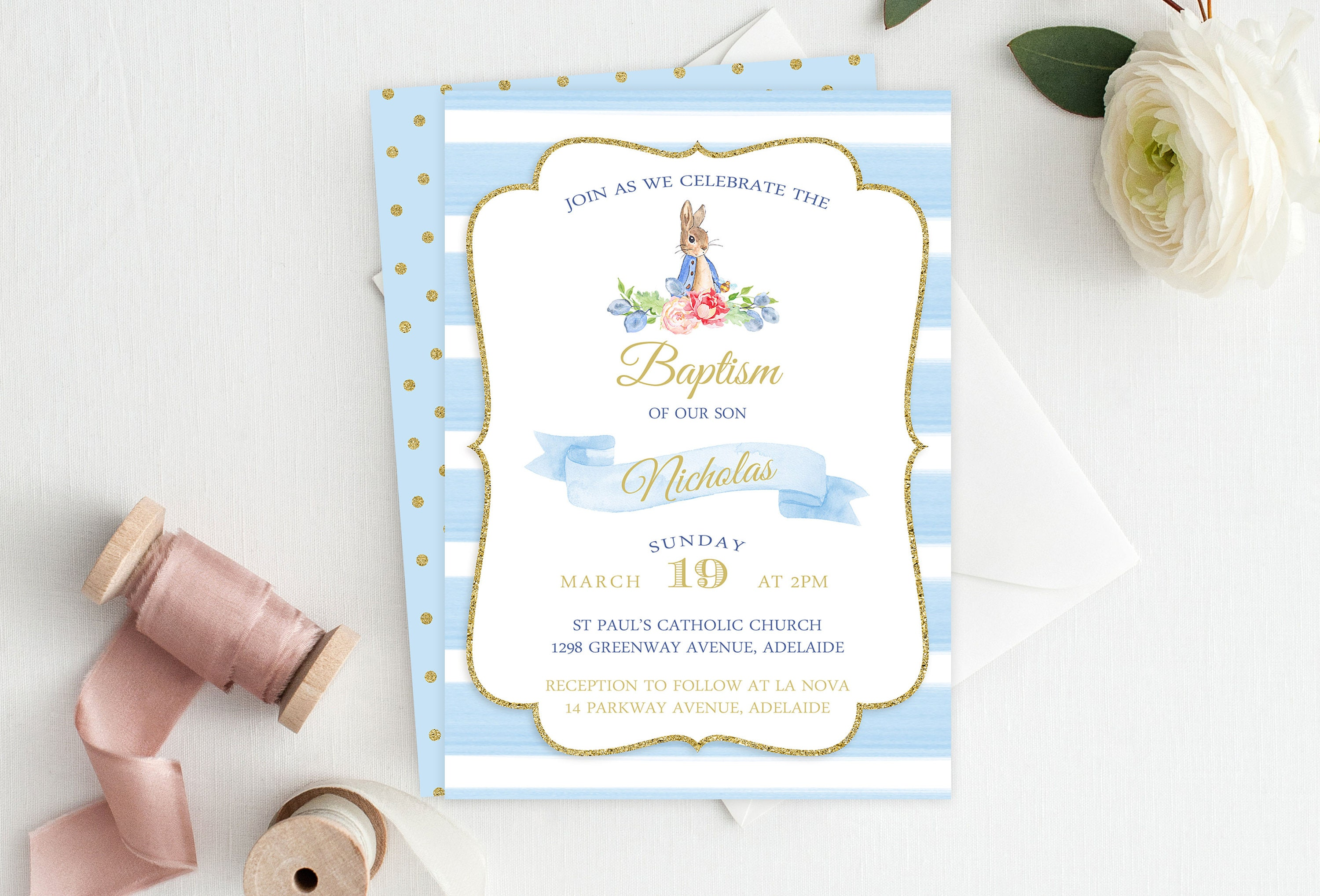 Blue bunny boy baptism invitation christening invitation baptism blue bunny boy baptism invitation christening invitation baptism invite christening invite peter rabbit invitation printable invitation stopboris Images