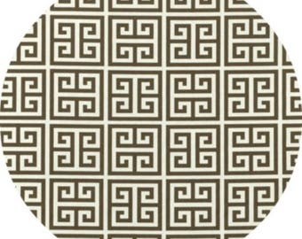 Set of 4 Round placemats, cotton table linens, towers greek key brown ivory