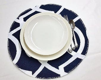 Set of 4 Round placemats, cotton table linens, Morrow geometric navy blue and white