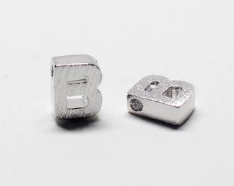 P0721/Anti-Tarnished Rhodium Plating Over Brass /Brushed Mini Alphabet Charm/5x7.2mm/2pcs