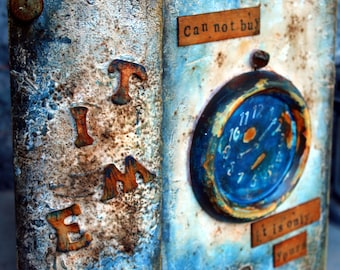 Book box, Time Can Not Buy It Is Only Yours,  Rusty clock, Life death lifetime, Rusty Time Machine, Handmade, Original box for memories