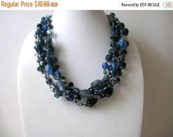ON SALE Vintage Chunky Shorter Length All Glass Beads Multi Strand Necklace 102316