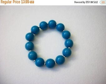 ON SALE Retro Blue Silver Plastic Metal Stretch Bracelet 72816