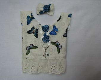 Dog Pet Rabbit Pig Cat Blue Butwterflies on Beige Lacy for Her Harness Vest  Size XS S Charm Yorkie Maltese ShihTzu Chihuahua