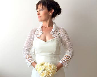 Bridal bolero , white shrug, crochet bolero, wedding cardigan, bridal jacket, knitted bolero, lacy shrug, 3/4 sleeve bolero, fast shipping