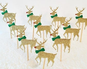 Reindeer Cupcake Toppers, Set of 10, Christmas Party Picks, Festive Toppers, Food Tops, Xmas Party Decorations, Stag, Rudolph Toppers