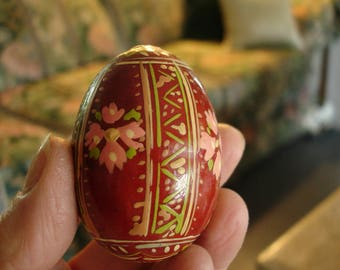 Vintage Ukraine pysanka handpainted egg, Wooden egg,Handpainted,Ukraine,Soviet Union,souvenir, Vintage folk art,Colorful
