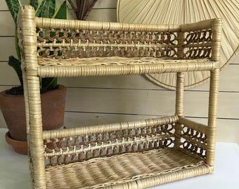 vintage wicker shelf / two tier  Wicker Wall shelf /tan natural wicker wall shelf / boho decor / boho shelf