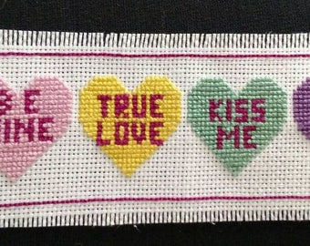 Candy Heart Cross Stitch Bookmark
