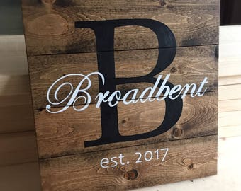 Last name wooden rustic wall decor sign, monogram rustic wall home decor sign