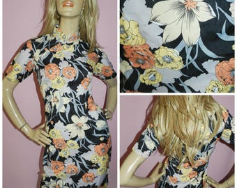 Vintage 50s 60s Multicoloured MID CENTURY Orchid Floral print Wiggle shift Cheongsam dress 14 M Hourglass 1950s 1960s