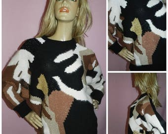 Vintage 80s Black/Brown/Cream/Gold ABSTRACT Oversized BATWING slouchy Textured Sweater jumper M 1980s