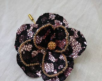 Hot pink black lace flower brooch pin, seed beads,