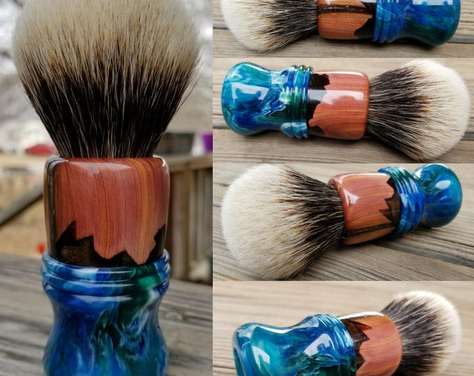 Handpoured Hybrid  Stabilized Cedar/Bronze Pearl Shaving Brush with Blue/White/ and Green Pearl, Handmade, Free Shipping
