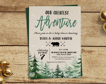 Winter our greatest adventure baby shower invitation, gender neutral baby shower, forest baby shower, you are our greatest adventure,
