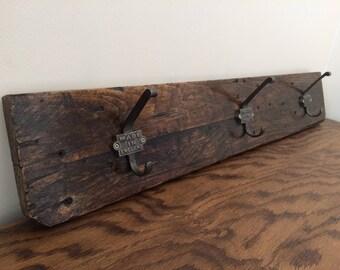 Rustic Reclaimed Coat Rack, Pallet Wood Coat Rack - Made in England - Home Decor, Farmhouse Coat Hanger, Cast Iron Hooks, Industrial Decor