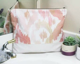 Large Zippered Cosmetic Bag - Large Zipper Pouch for Makeup