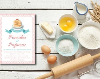 Pancakes and Pajamas DIY Printable Birthday Party Invitation with back design