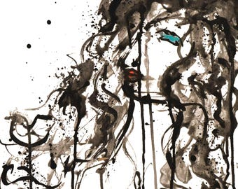 Expressive Black and White Portrait Study, Painting of Woman in ink and watercolour
