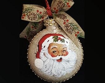 Hand Painted Santa Face Ornament,Christmas Santa Claus,Santa Ornament, Vintage Santa,Painted Ornaments