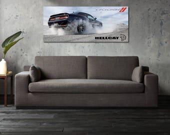 2018 Dodge Challenger Hellcat Poster Srt8 Mopar Large Charger Viper Muscle Burnout