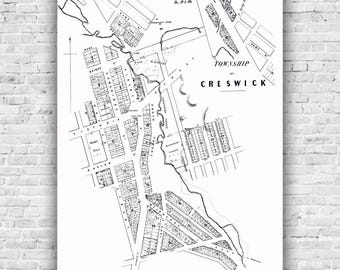 Creswick Map - Old township map 1859, poster, print, antique map, wall art, Ballarat