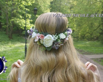 Purple Lavender Flower crown Floral crown Flower vine Wedding hair accessories Fower girl crown Flower hair wreath Bridal flower crown