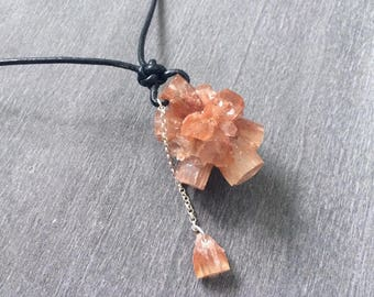 Natural Raw Morocco Aragonite Star Cluster Specimen Pendant with Sterling Silver Black Leather Cord Necklace