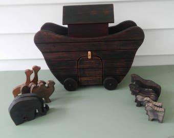 A Vintage Wooden Heirloom Noah's Ark Toy/Baptism Gift