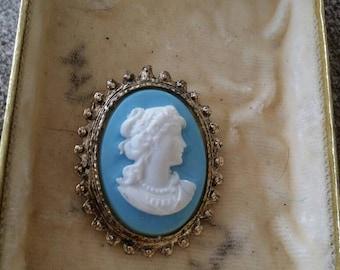 Cameo brooch victorian lady brooch blue cameo brooch antique style brooch victorian style brooch vintage brooch