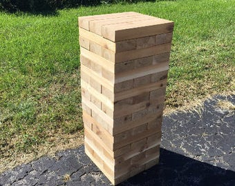 Cedar Giant Tower Large, Ready to Ship (toppling tower, wedding game, wedding guest book)