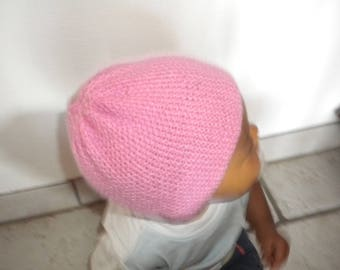 baby Hat hand knit pink tweed